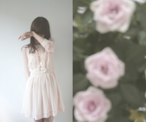 girl, flowers, and dress image