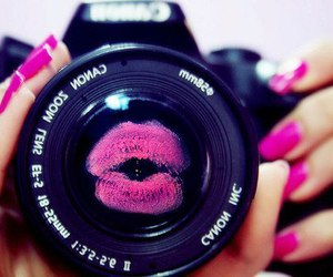 pink, kiss, and camera image