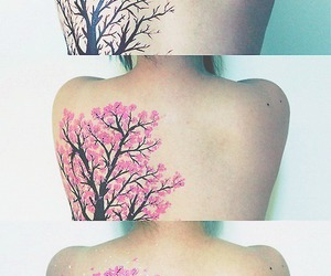 tattoo, tree, and pink image