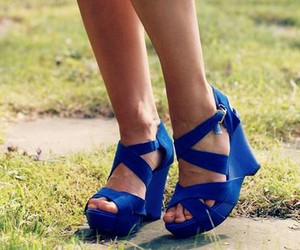 blue, heels, and wedge image