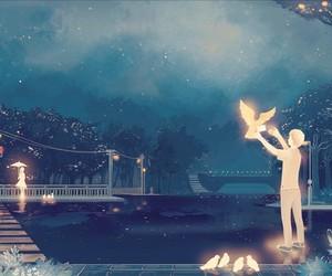 anime, bird, and night image