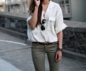 green, white, and blouse image