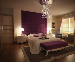 bedroom, purple, and luxury image