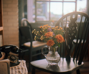 chair, flowers, and home image