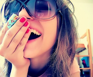 girl, smile, and sunglasses image