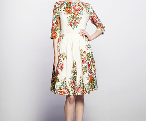 dress, floral, and girl image