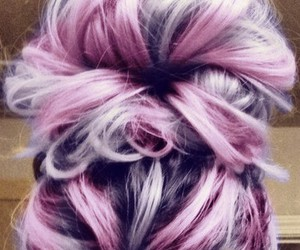 hair, purple, and bun image
