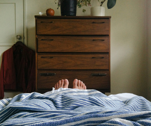 bed, boy, and feet image
