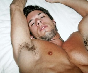 bed, nipple, and guy image