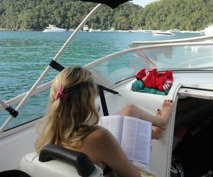 boat, reading, and study image