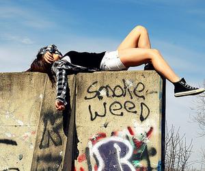 girl, weed, and smoke image