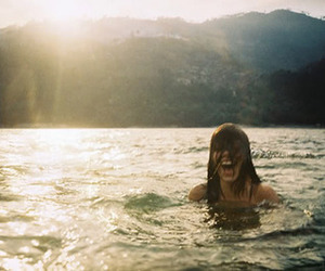 girl, water, and happy image