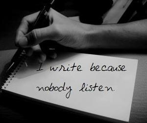 write, listen, and quote image