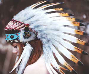 girl, indian, and feather image