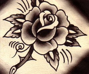 rose, traditional, and tattoo image