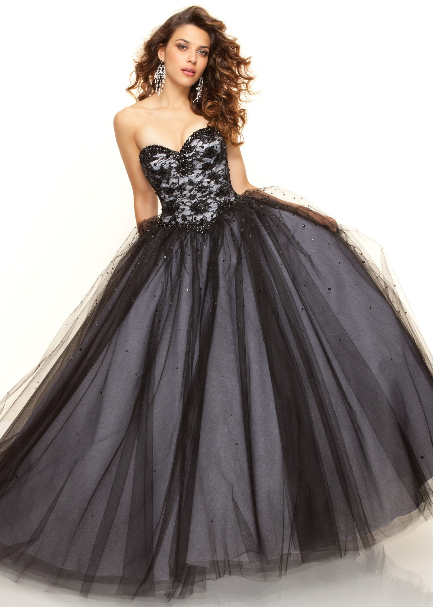d2e8bfd23238 Paparazzi by Mori Lee 93033 - Beaded Black Ball Gown Dress, 2013 ...