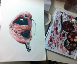art, colours, and mouth image