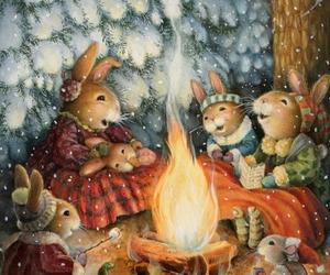 art, snow, and bunny image