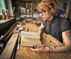 tattoo, girl, and book image