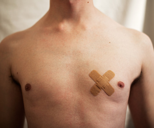 band-aid, chest, and hurt image