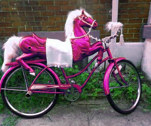 bike, horse, and pink image