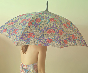 floral, girl, and umbrella image