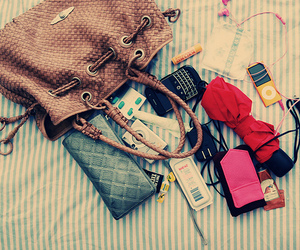 bag, ipod, and blackberry image