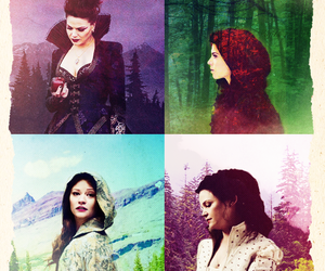 belle, once upon a time, and snow white image
