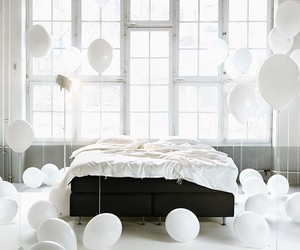 balloons, white, and bed image