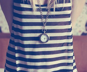girl, clock, and necklace image