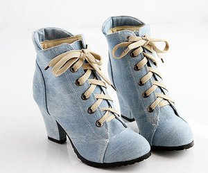 blue, denim, and boot image