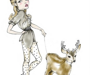 deer, drawing, and girl image
