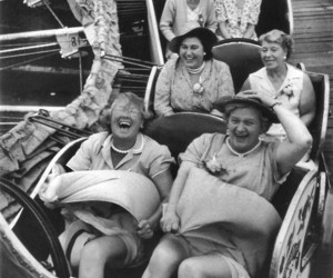 1956, vintage, and women's pub outing image