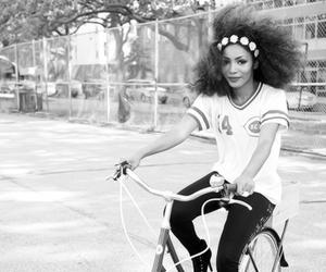 b&w, bike, and hair image
