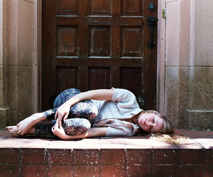 blonde, curled up, and door image