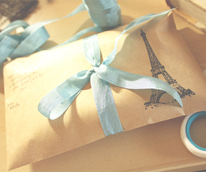 blue, eiffel tower, and ribbon image
