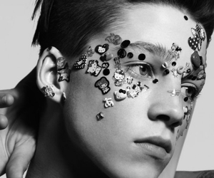 Ash Stymest, black and white, and hello kitty image
