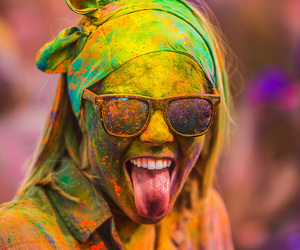 girl, colors, and fun image