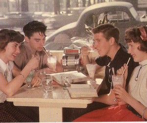 50's, couples, and diner image