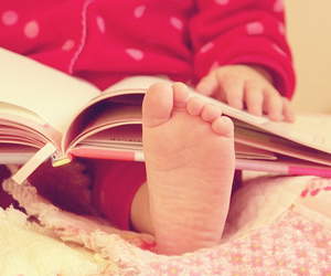 book, baby, and feet image