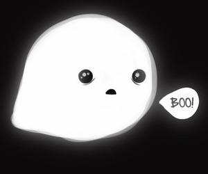 boo, ghost, and black and white image