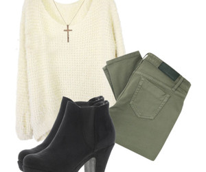 ankle boots, beige, and black image