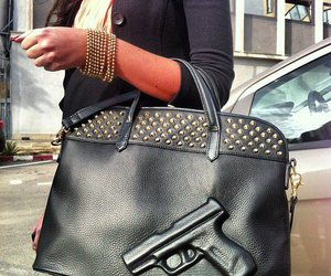 fashion, gun, and bag image