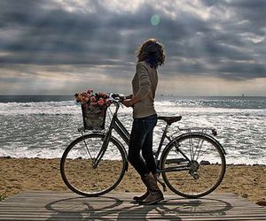 beach, bicycle, and sea image