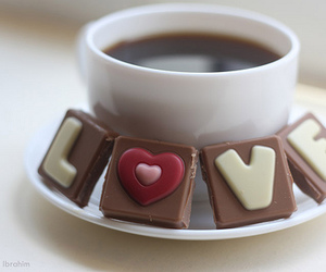 love, chocolate, and coffee image