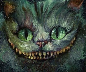 alice in wonderland, cat, and cheshire image