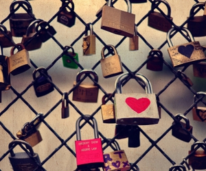 fence, heart, and love image