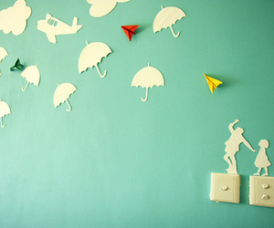 umbrella, wall, and Paper image