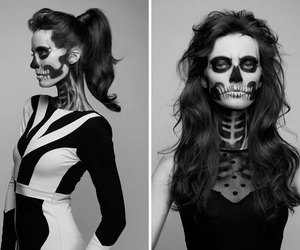 black and white, skull, and make up image