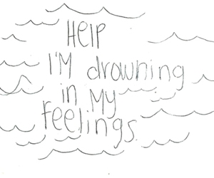 feelings, quote, and drowning image